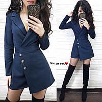 Женский замшевый комбинезон Эрна с шортами ( темно-синий, каппучино, марсала, черный, С и М)