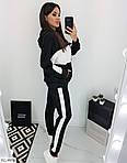 Женский спортивный костюм с белыми лампасами и капюшоном (Батал), фото 8