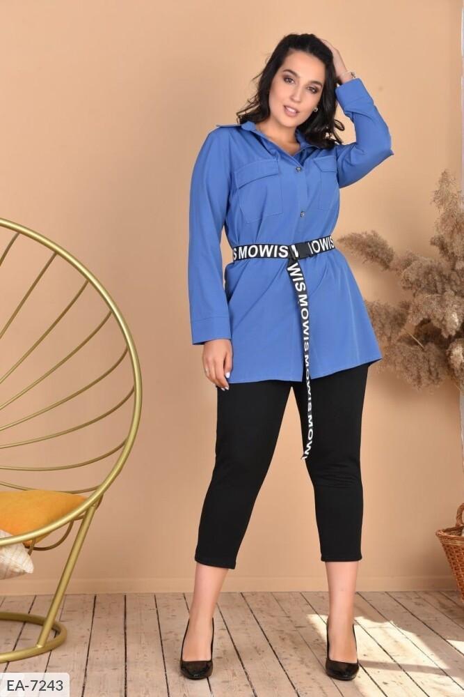 Женский костюм рубашка с лосинами (Батал)