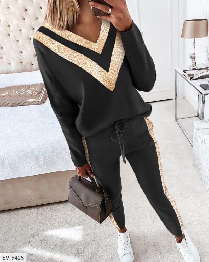 Женский черный прогулочный костюм с золотой вставкой (Батал)