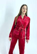 Пижама костюм с поясом для дома красный бархат плюш рубашка + штаны