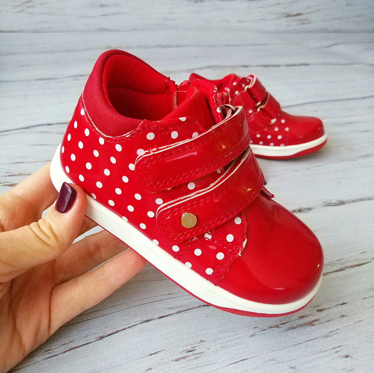 Ботинки для девочек, красные 23р. по стельке 14,0 см