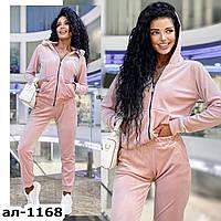 Женский стильный велюровый костюм с кофтой на молнии С, М +большие размеры Разные цвета, фото 1