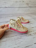 Ботинки для девочек, золотые, детская обувь, фото 3