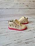 Ботинки для девочек, золотые, детская обувь, фото 4