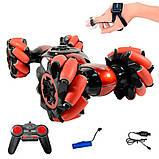 Машинка-перевертыш Stunt трюковый автомобиль с управлением с руки красная, аккумулятор, фото 8