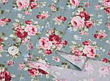 Ткань хлопок для рукоделия винтажные розы на светло-бирюзовом, фото 2