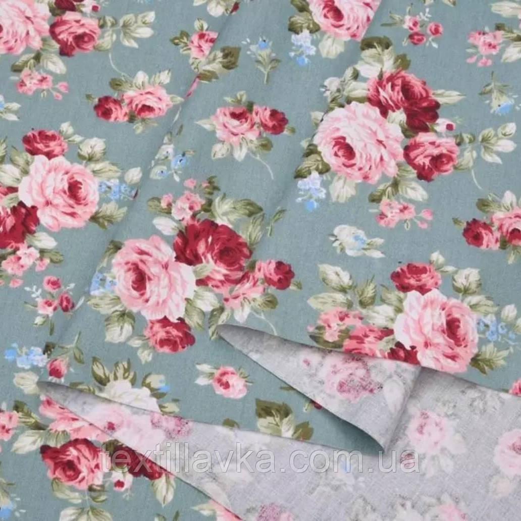 Ткань хлопок для рукоделия винтажные розы на светло-бирюзовом
