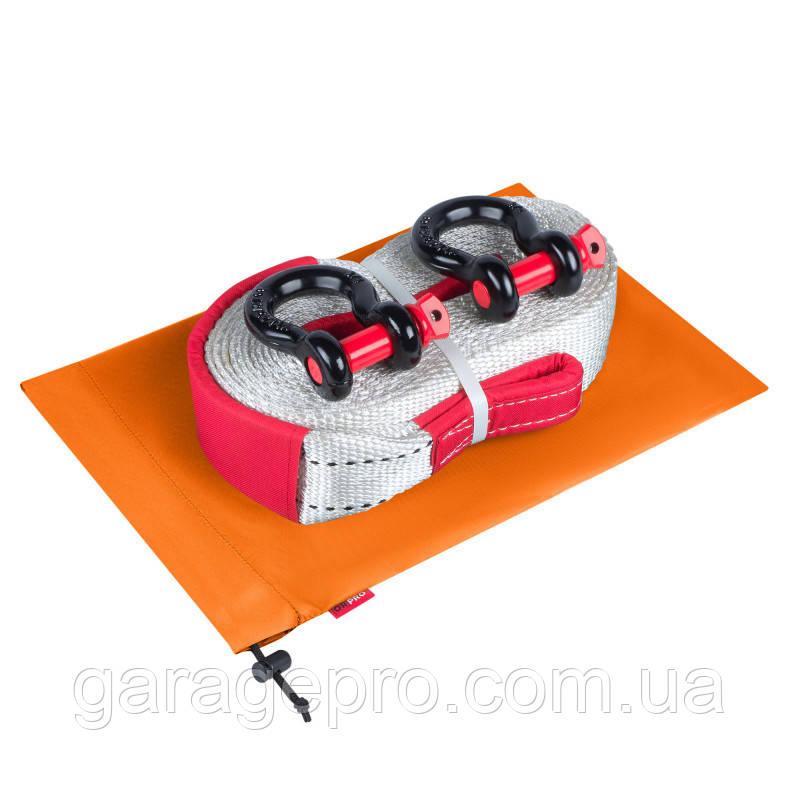 Такелажный набор для внедорожника: рывковая стропа 12т, шаклы и оранжевый грязезащитный мешок