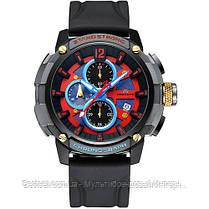 Часы оригинальные мужские наручные кварцевые Megalith 8231M Black-Gray-Red-Blue / часы оригиналые мегалит, фото 3