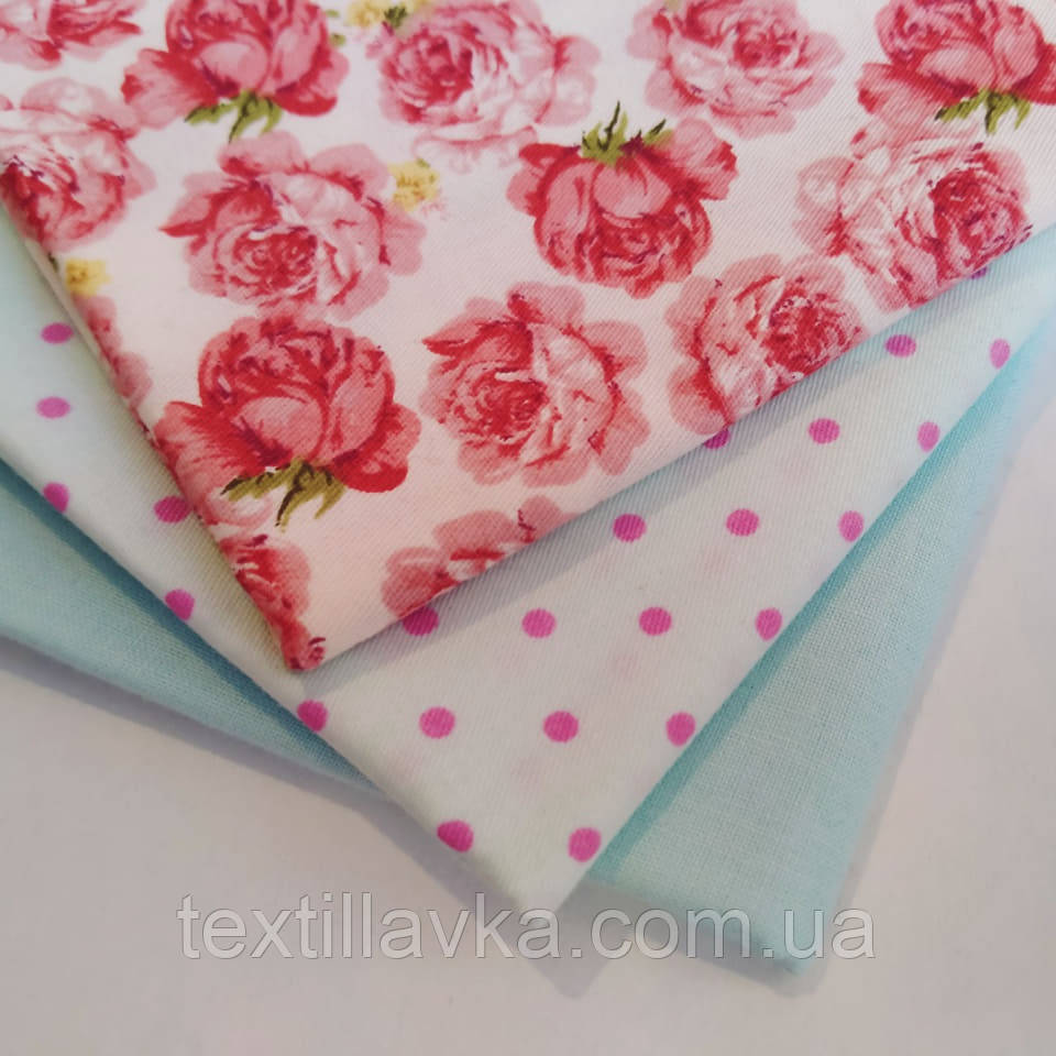 """Набор хлопковой ткани для рукоделия """"Нежные розы"""""""