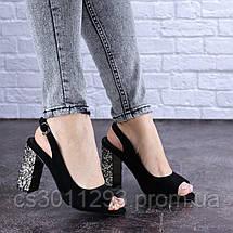 Женские босоножки на каблуке Fashion Galaxy 1711 36 размер 23,5 см Черный, фото 3