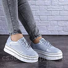 Женские кожаные кроссовки Fashion Erly 1709 36 размер 23 см Голубой
