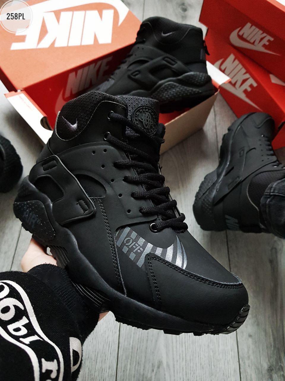 ЗИМА!!! Мужские кроссовки Huarache Off BLACK Winter