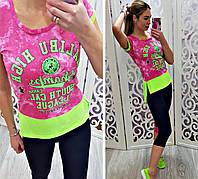 Турецкий костюм для фитнеса футболка и бриджи, фото 1