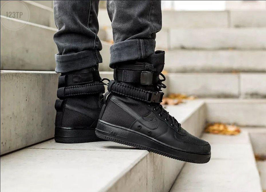 Мужские кроссовки Air Force Hight Total Black LUX