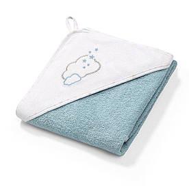 Полотенце махровое с капюшоном BabyOno 100х100 см Облака (голубое)