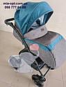 Детская коляска 2 в 1 Classik Len(Классик Лен) Victoria Gold графит бирюза, фото 7