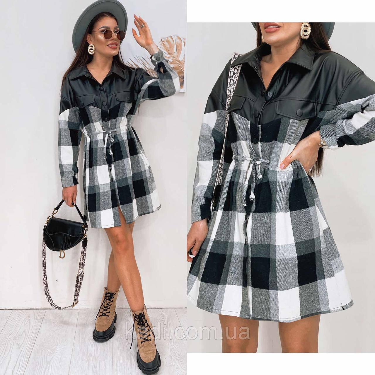 Платье комбинированное с эко-кожей / арт.388