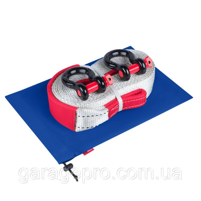 Такелажный набор для внедорожника: рывковая стропа 12т, шаклы и синий грязезащитный мешок