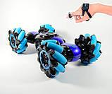Машинка-перевертыш Stunt трюковый автомобиль с управлением с руки синяя, фото 4