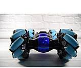 Машинка-перевертыш Stunt трюковый автомобиль с управлением с руки синяя, фото 6