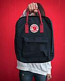Женский рюкзак сумка канкен классик 16 литров Fjallraven Kanken classic черный с бордовыми ручками, фото 7