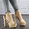 Женские стильные босоножки на каблуке Fashion Rosebud 1124 37 размер 24 см Бежевый, фото 2