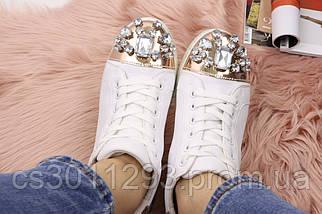 Женские стильные кеды с камнями Fashion Dominique 1013 37 размер 23,5 см Белый, фото 2