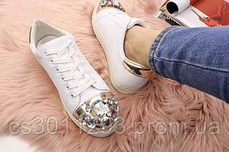 Женские стильные кеды с камнями Fashion Dominique 1013 37 размер 23,5 см Белый, фото 3