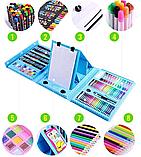 Художественный набор для творчества 208 предметов с мольбертом для детей в удобном чемодане, фото 5