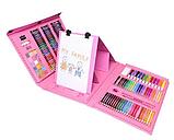 Художественный набор для творчества 208 предметов с мольбертом для детей в удобном чемодане, фото 4