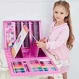 Художественный набор для творчества 208 предметов с мольбертом для детей в удобном чемодане, фото 8