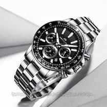 Часы оригинальные мужские наручные кварцевые Megalith 0089M-1 Silver-Black / стальной ремешок, фото 3