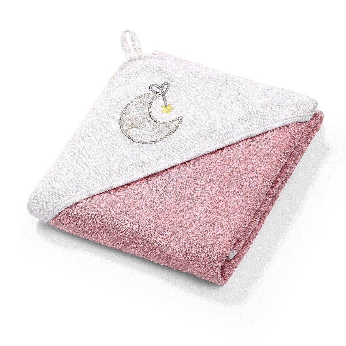 Полотенце махровое с капюшоном BabyOno 100х100 см Месяц (розовое)