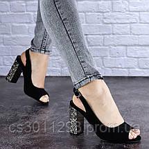 Женские черные босоножки на каблуке Galaxy 1711 (37 размер), фото 2