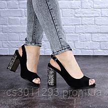Женские черные босоножки на каблуке Galaxy 1711 (37 размер), фото 3