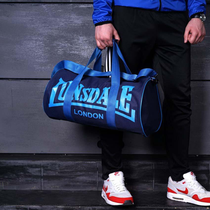 Вместительная спортивная сумка Lonsdale London. Для тренировок. Синяя с голубым
