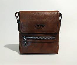 Мужская сумка через плечо Jeep. Коричневая. 21см х 19см / Кожа PU. 558 brown