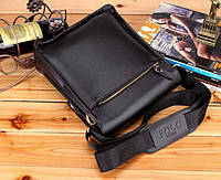 Качественная мужская сумка через плечо Polo Videng, поло. Черная. 24x21x7, фото 7