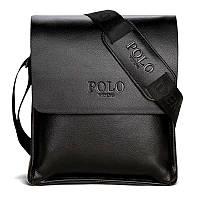 Качественная мужская сумка через плечо Polo Videng, поло. Черная. 24x21x7, фото 8