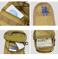 Тактическая сумка-рюкзак, барсетка на одной лямке, хаки. T-Bag 3, фото 5