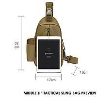 Тактическая сумка-рюкзак, барсетка, бананка на одной лямке. Койот. T-Bag 447, фото 2
