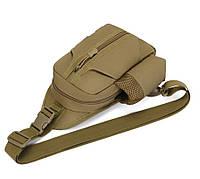Тактическая сумка-рюкзак, барсетка, бананка на одной лямке. Койот. T-Bag 447, фото 3