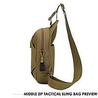 Тактическая сумка-рюкзак, барсетка, бананка на одной лямке. Койот. T-Bag 447, фото 4