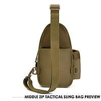 Тактическая сумка-рюкзак, барсетка, бананка на одной лямке. Койот. T-Bag 447, фото 5