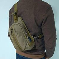 Тактическая сумка-рюкзак, барсетка, бананка на одной лямке. Койот. T-Bag 447, фото 7