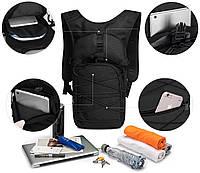 Качественный тактический рюкзак, туристический, велосипедный. Черный, фото 7