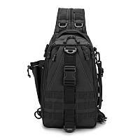 Черная тактическая сумка-рюкзак, мессенджер, барсетка., фото 2