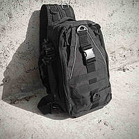 Черная тактическая сумка-рюкзак, мессенджер, барсетка., фото 5